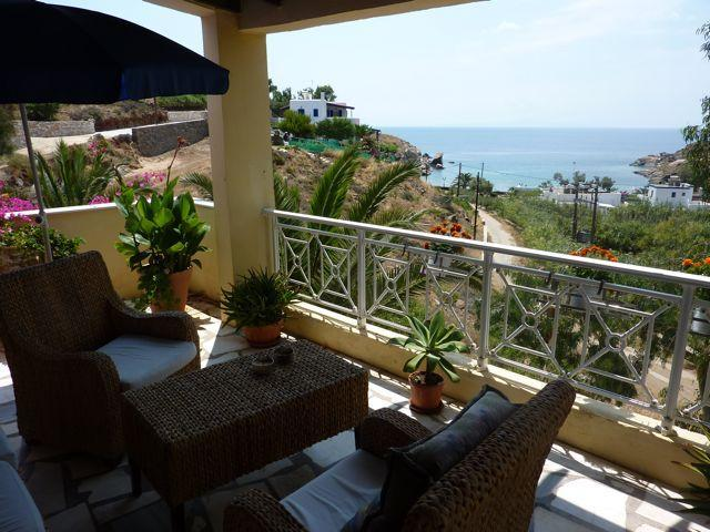 Villa Abela Balcony with view to the beach - Spacious Oceanview Villa, Swimming Beach, AC, Wifi - Siros - rentals