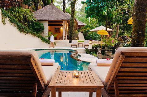 Main pool looking towards tv room - Villa Kembali on the River - Canggu - rentals