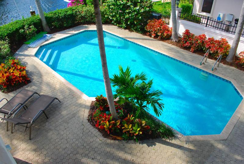 "Extremely Private & Exclusive Rear Yard Offering A Custom Heated Pool & Dining Areas w/Water Views - By The Sea Vacation Villas LLC ""Casa Palma"" WATERFRONT HTD POOL - Fort Lauderdale - rentals"