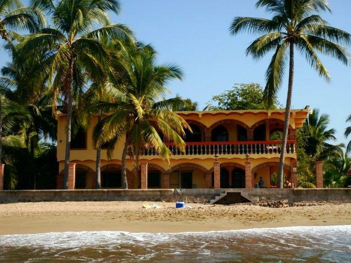Casa Fortuna from the surf You can't get closer than this! - Luxury   Beachfront home with private heated pool! - Rincon de Guayabitos - rentals