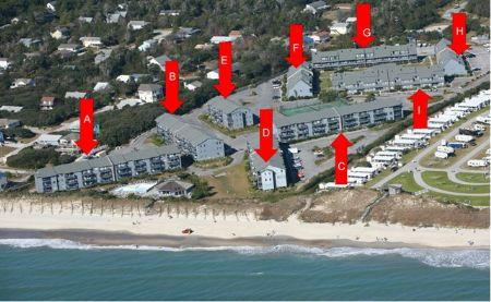 Aerial View of Building Location PB - Pebble Beach G-203 - Emerald Isle - rentals
