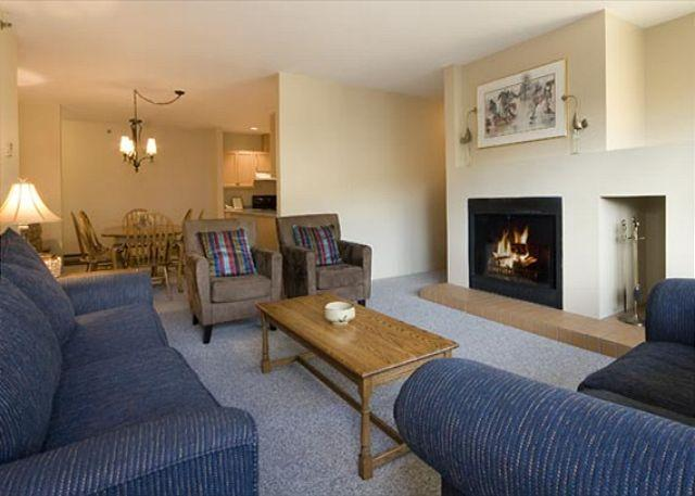 Spacious Living Room with Presto Log Fireplace, Flat Screen TV - St. Andrews #301 | Spacious 2 Bedroom Condo in Heart of Whistler Village - Whistler - rentals