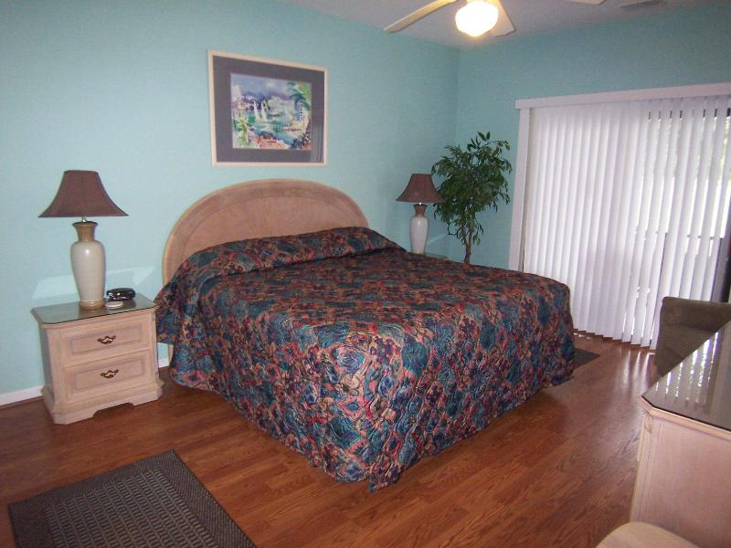 King bed; bedroom has porch access - 2 BR (3DLL2), King & 2 Qns, 1 Mile from the Beach - Sunset Beach - rentals