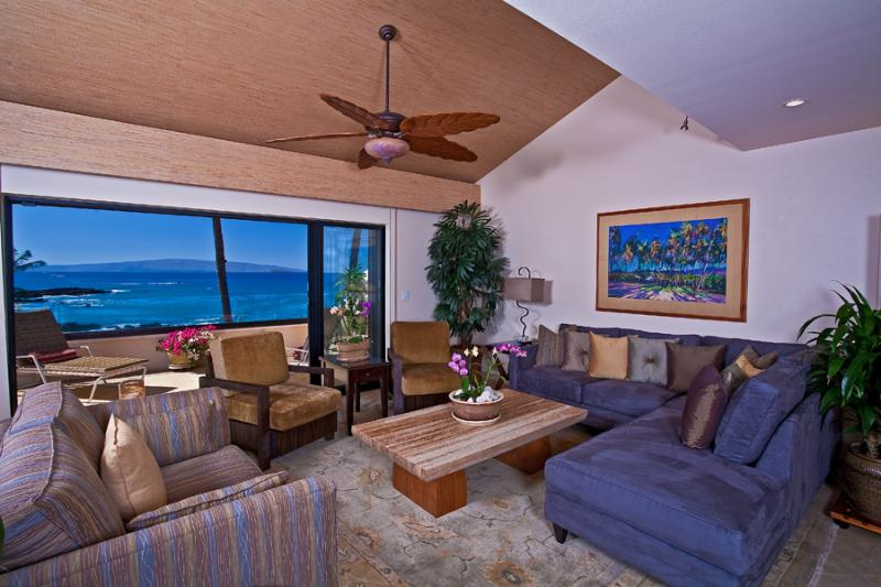 Large Open Ceiling Living Area with Stylish Contemporary All-New Furnishings - Opens to Expansive Private Outdoor Veranda - Turquoise Cove G301 at Makena Surf - Wailea - rentals