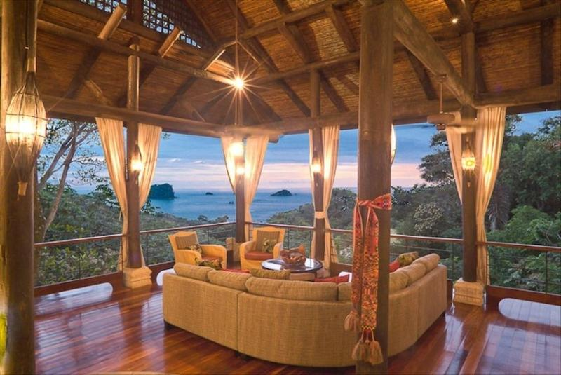 Sunset views from open air living room - Casa Vista Azul-As seen on HGTV Tropical Mansion - Manuel Antonio National Park - rentals