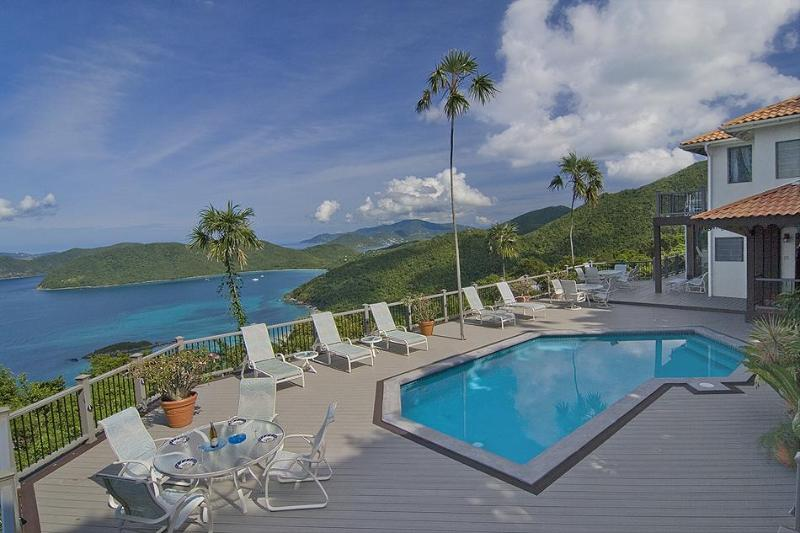 A view like this deserves a massive deck (new Trex in 2010) - Cinnamon Bay Estate, 500 ft above Cinnamon Beach - Saint John - rentals