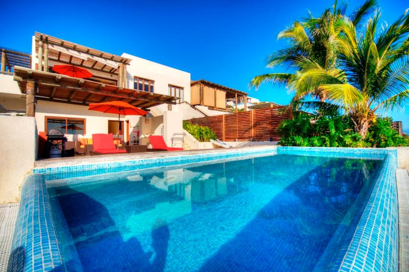 Large outdoor living patio & private pool - Penthouse on beach...  Private Pool, Luxury Resort - Punta de Mita - rentals