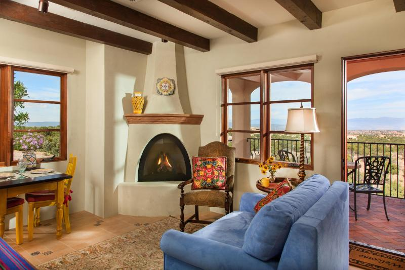 Sitting room, fireplace and entrance patio - Spectacular Views, Solitude and Santa Fe Charm - Santa Fe - rentals