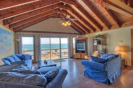 Oceanside Living Room - Livin' On A Prayer, 230 Topsail Rd, North Topsail Beach NC - North Topsail Beach - rentals
