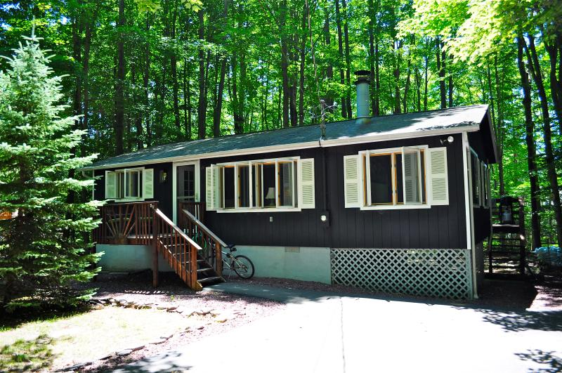 In summer, the house is well shaded by mature trees - Clean, Tranquil Lake Cottage with Fplc, Fpit, Wifi - Pocono Lake - rentals