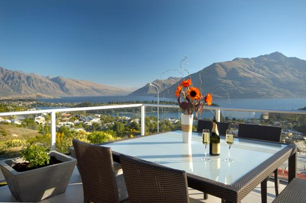 sunny balcony with lake and mountain views - Lake View Villa - luxury Queenstown Hill residence - Queenstown - rentals