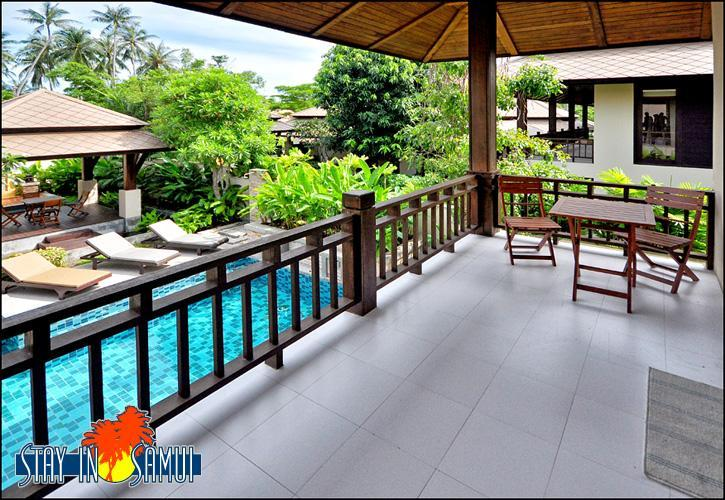upstairs balcony with view over private pool - beautiful private villa in 'Kirikayan' resort - Mae Nam - rentals