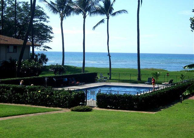 Waiohuli Beach Hale Pool view from #205 - Waiohuli Beach Hale #B-205 Oceanfront Ocean View 1 Bd 1 Ba  Great Rates!! - Kihei - rentals
