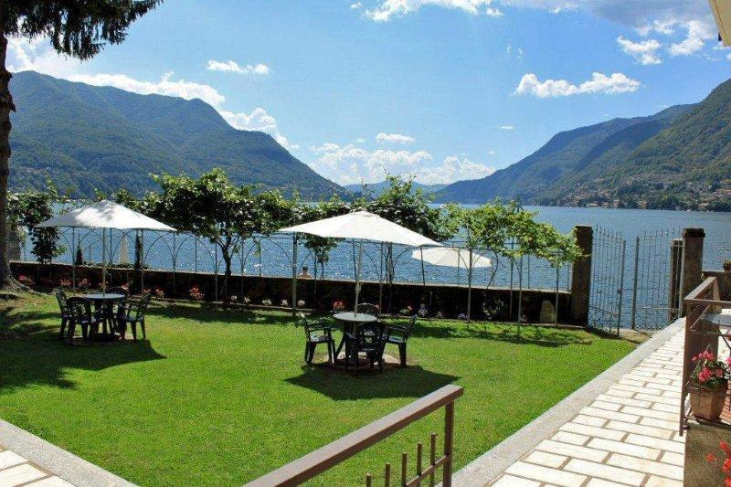 Lovely gardens overlooking Lake Como for al fresco dining or just relaxing - BEACHFRONT  Villa Costa Azzurra - Lakefront  Views - Pognana Lario - rentals