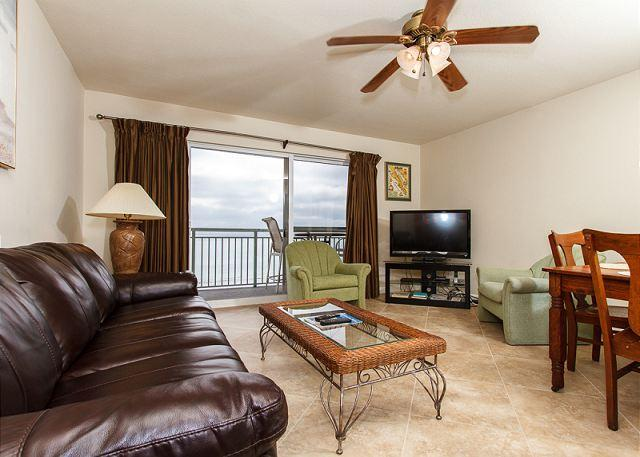 Beach Front living room with a brand new sofa as of December 201 - PI 411: *** THIS WAY TO THE BEACH *** FREE BEACH SERVICE - WI-FI - HDTV's - Fort Walton Beach - rentals