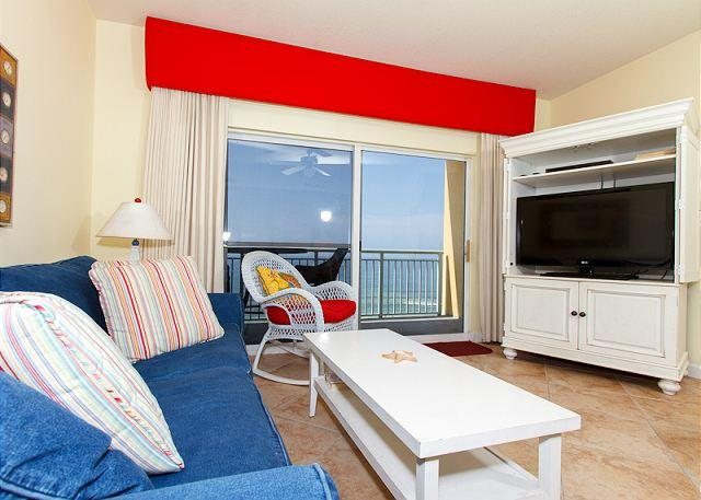 LIVING ROOM - PI 606: Beautiful top floor condo, WiFi, pool, spa, Free Beach Service - Fort Walton Beach - rentals