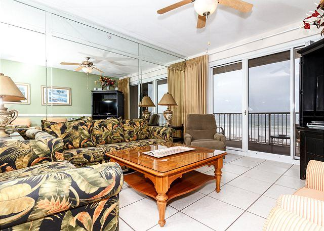 Outstanding views and balcony entry from the spacious living roo - SP 302:Luxury beachfront condo-hot tub,beachside pool, FREE BEACH SERVICE!! - Fort Walton Beach - rentals