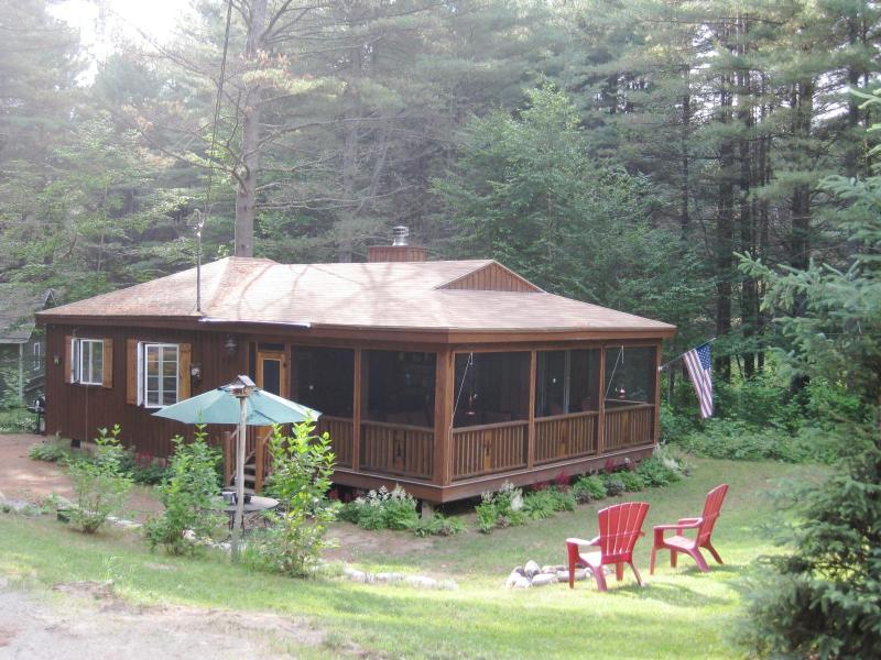 Cabin in summer with large screened in porch - Romantic Adirondack Getaway-Fireplace-Snowshoes! - Wells - rentals