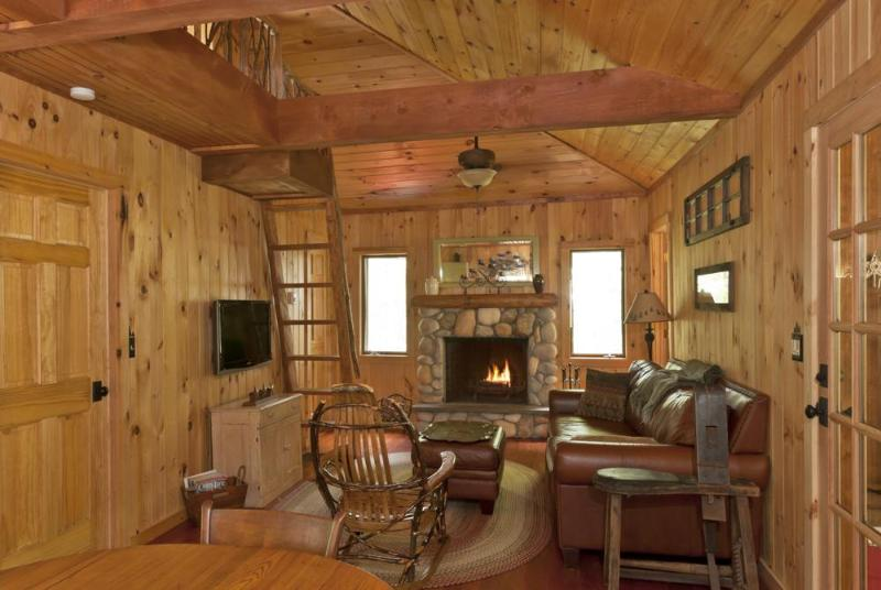 Livingroom with wood burning fireplace - Romantic Adirondack Getaway-Fireplace-Snowshoes! - Wells - rentals