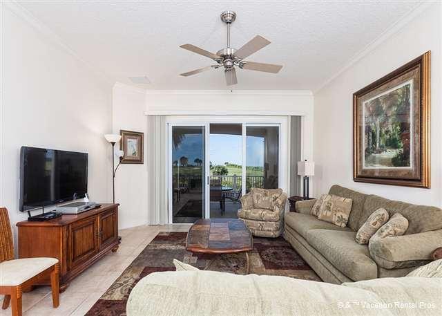 Our casually elegant living room is a treat - 424 Cinnamon Beach, Ocean Views, Tile, Expansive Balcony, Wifi - Palm Coast - rentals