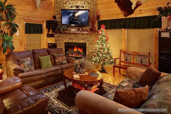 Living Room with Christmas Decorations - HAKUNA MATATA-Luxurious 2/2-Indoor/Outdoor Pool-Sleeps 9 - Pigeon Forge - rentals