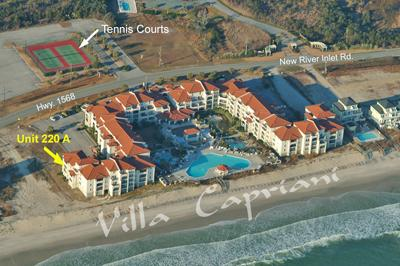Aerial photo showing location of 220A - Villa Capriani 220 A - North Topsail Beach - rentals