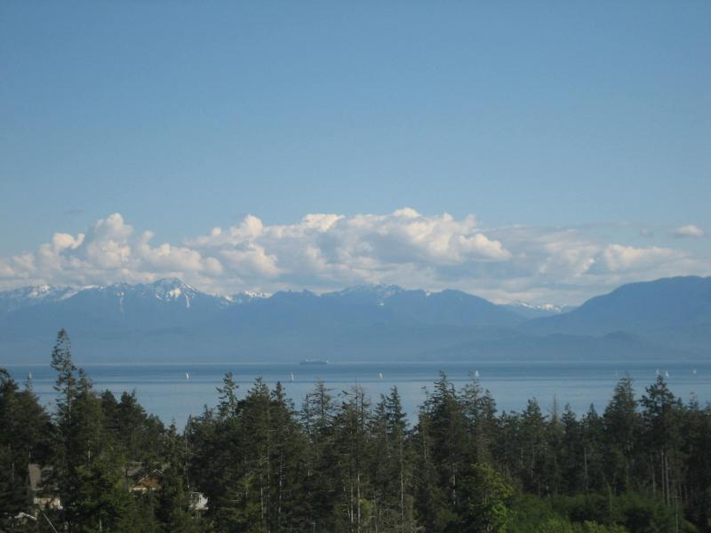 View of Olympic Mountains & Strait of Juan de Fuca from hot tub - Gorgeous Ocean Vista View - Sooke - rentals