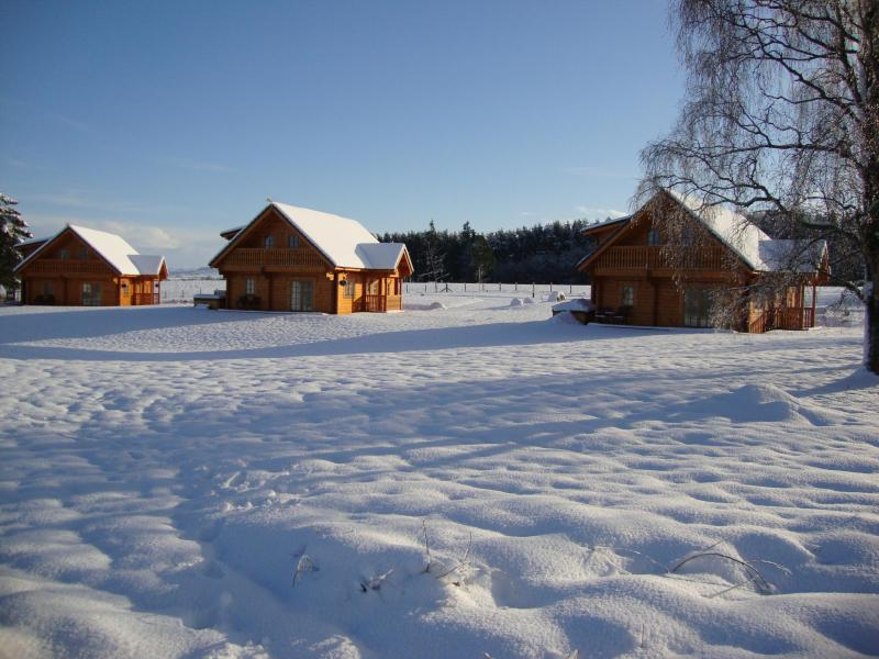 Turleum Lodge on the left. A winter scene at Mountwood Lodges - TURLEUM lodge, part of Mountwood Lodges - Aberuthven - rentals