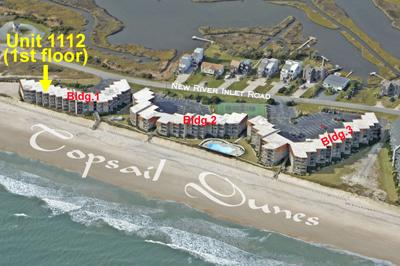 Aerial photo of resort showing location of #1112 - Topsail Dunes 1112 - North Topsail Beach - rentals