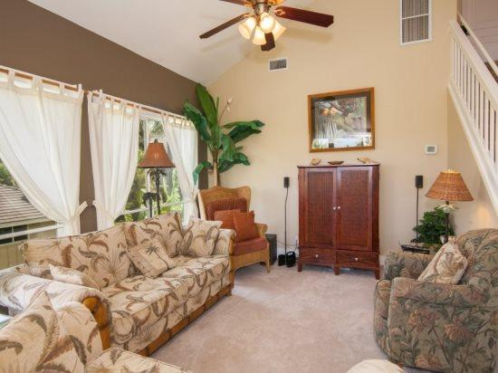 living room  - Regency 620 - spacious 3 bedroom/3 bath, central AC, short stunning walk to the beach! Pool view. - Poipu - rentals