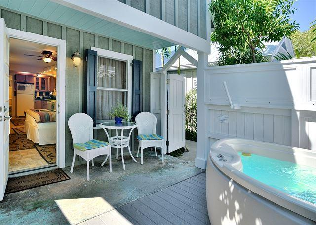Private Deck and Jacuzzi Area - Harrison's Hideaway - Luxury Cottage - Private Hot Tub - Half Block To Duval - Key West - rentals