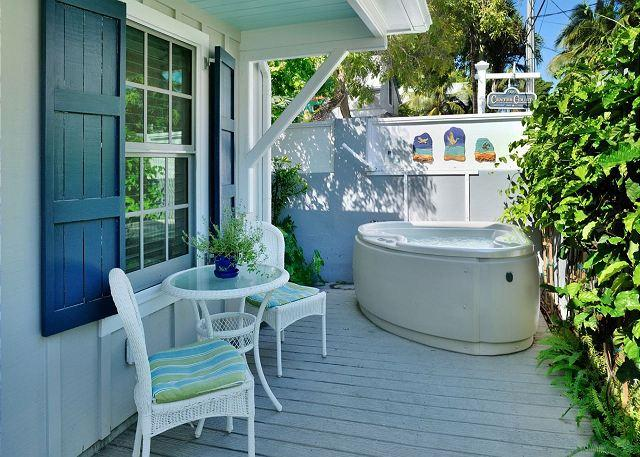 Deck Area With Seating and Private Hot Tub - McCartney's Manor - Luxury Cottage - Private Hot Tub - 1/2 Block To Duval St! - Key West - rentals
