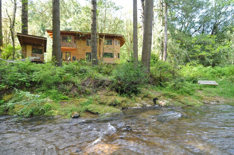 View of Lodge and Sauna from Glenn Creek - Below the Falls Lodge- by Golden & Silver Falls - Coos Bay - rentals