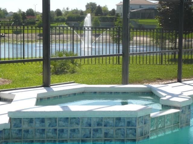 Spectacular Fountain view from pool. View Fountain, Magnolias and Waterlilies from the pool - Big Pool Villa with a Hot Tub and WiFi, at Golden - Kissimmee - rentals