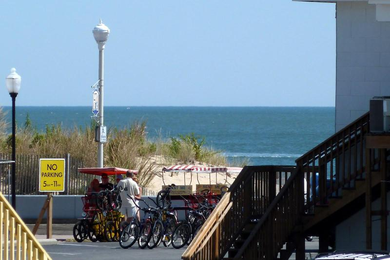 Peek at boardwalk and ocean from LR and deck - 3BR OCEAN & BOARDWALK view, pool, free WiFi linens - Ocean City - rentals