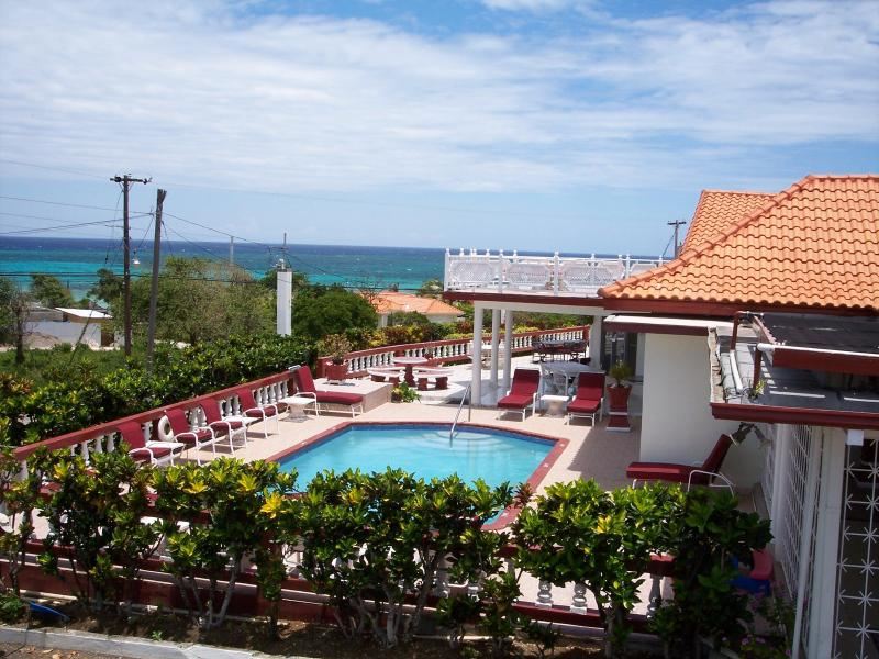 Pool Area with Ocean in the Background - Pineapple Villa - Duncans - rentals