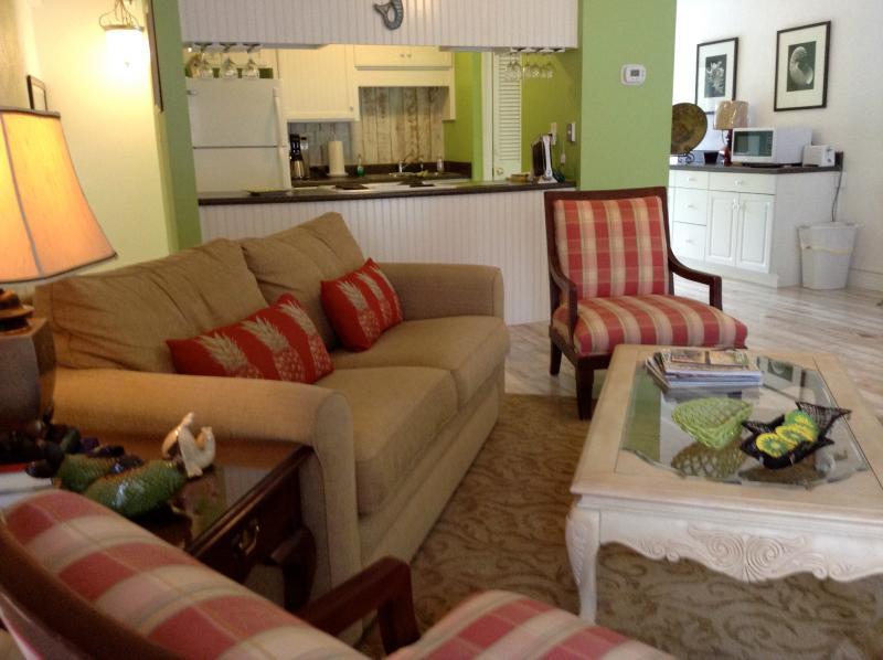 Living and Kitchen Area - Stunning East Beach Villa, steps to the beach! - Saint Simons Island - rentals