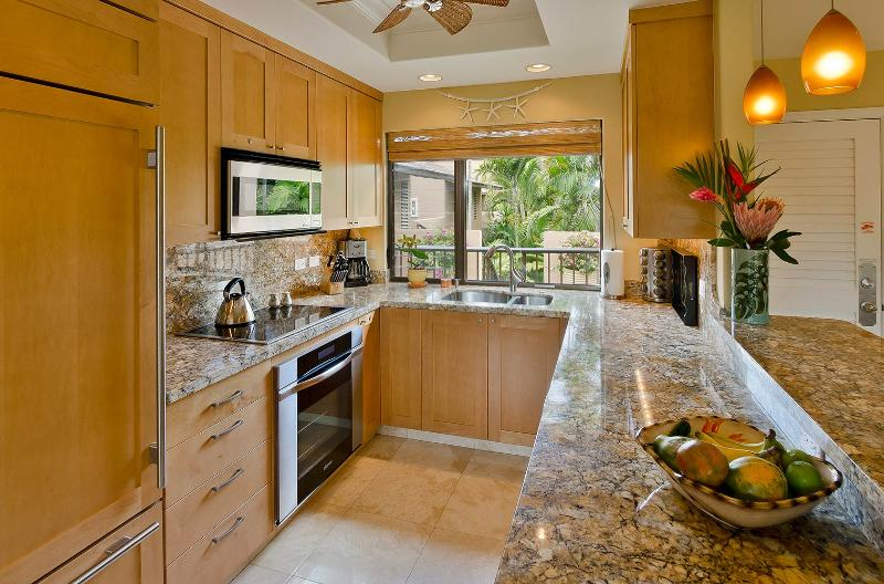 Cooking in this gourmet, well equipped kitchen is a delight.  Top-lin stainless steel appliances. - Wailea Ekahi 7G Luxury Ocean Front S Maui Condo - Wailea - rentals