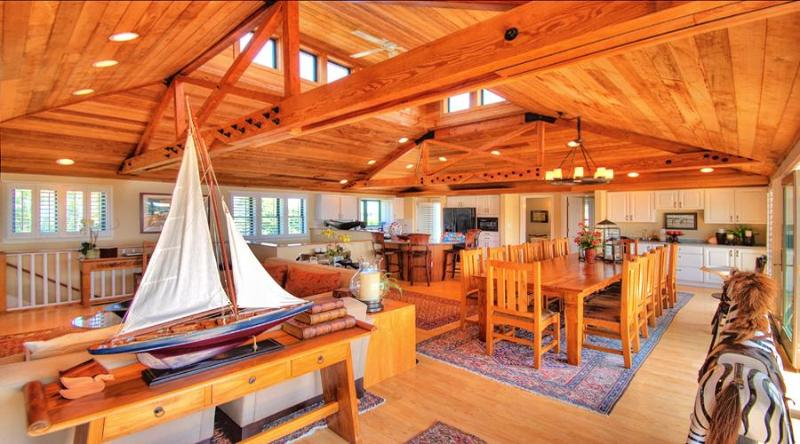 Main Living Area - Kitchen, Dining and Living Room - Luxury, Private Home - Ocean Views and Pool - Edgartown - rentals