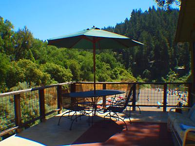 The Rhondavous, Deck with Table and Umbrella Overlooking Riv - The Rhondavous - Forestville - rentals