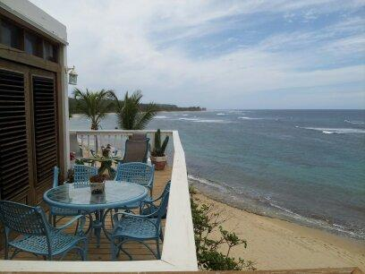 Private beachfront deck - Villa #4 - Shacks / Jobos Beach, Two Ocean Front Villas in Is - Isabela - rentals