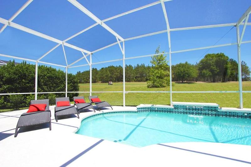Pool with Contemporary Furniture & overlooking Golf Course - 14 room Disney Golf Resort Villa - Davenport - rentals