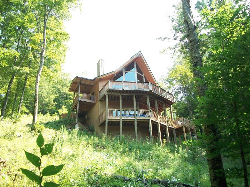 View Side w/ picture window wall - Asheville Area Cedar Chalet in Private Wolf Laurel - Mars Hill - rentals
