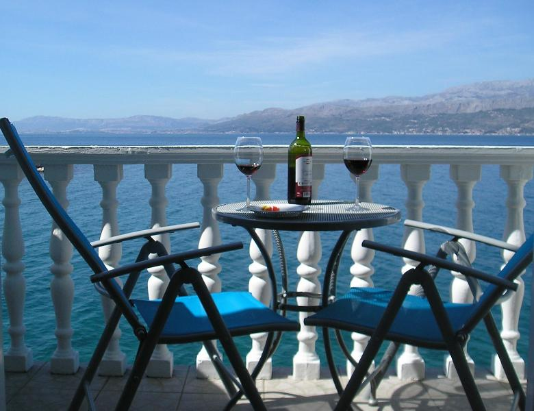 The balcony is directly over the sea - Stunning waterside penthouse on the Island of Brac - Postira - rentals