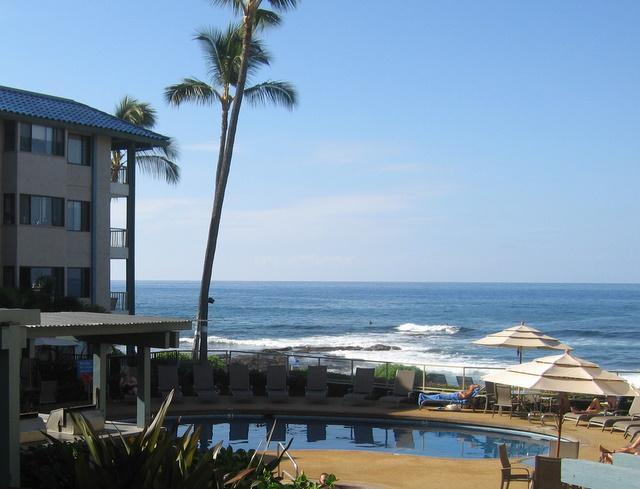 Taken from our lanai - Beautiful Condo Just Steps from Rare Sandy Beach - Kailua-Kona - rentals