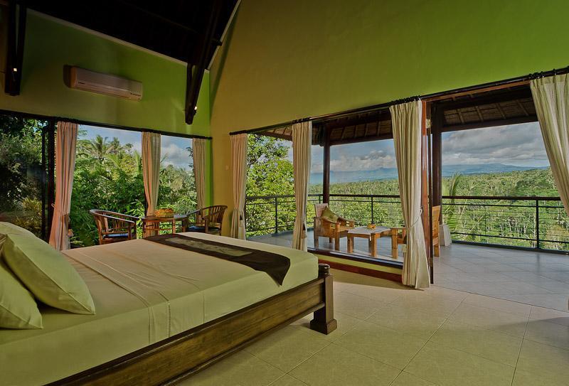 bedroom and views on left - Hillside Eden Villa Bali.{Private Villa} - Payangan - rentals