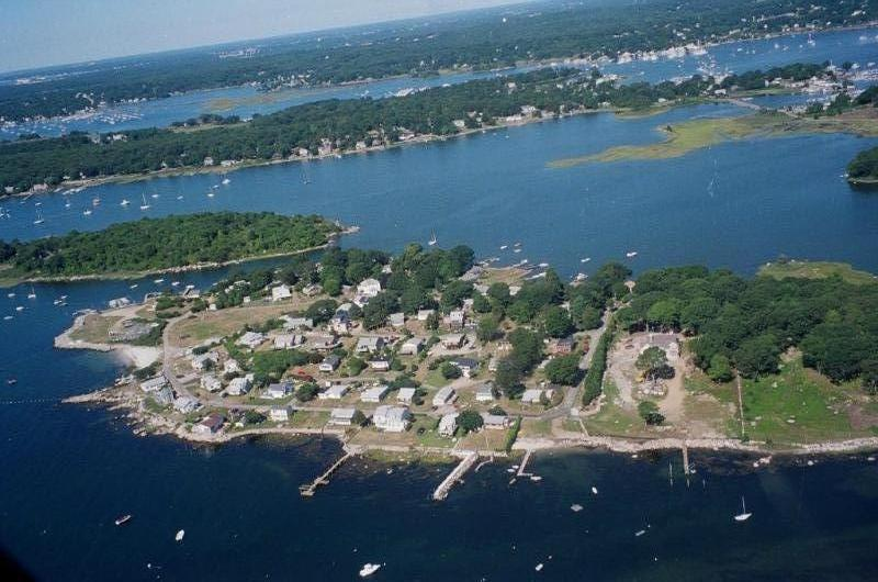 9411-Aerial view PRIVATE POINT - MYSTIC DIRECT WATERFRONT COTTAGE GET-A-WAY w/DOCK - Mystic - rentals