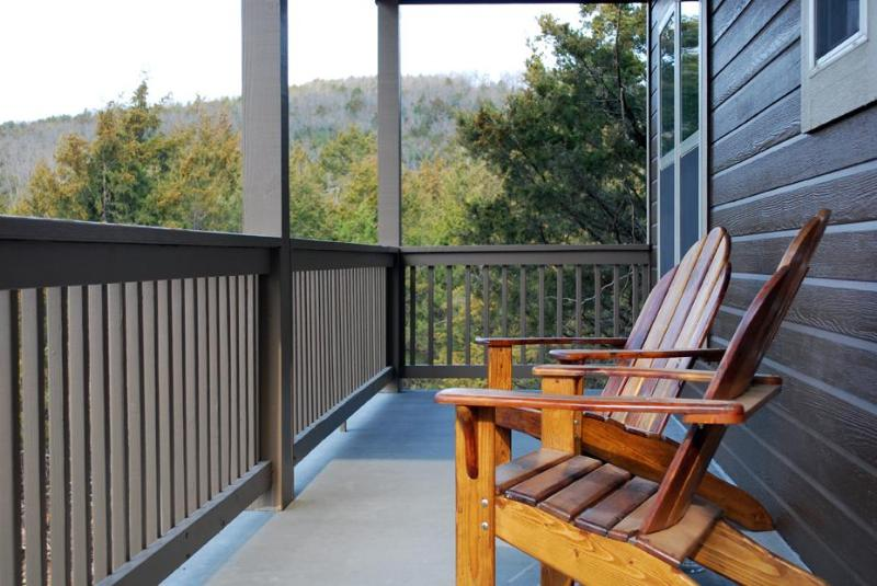 Handmade Adirondack chairs with a view of the Ozarks - Nature's Retreat - AWARD WINNER - King Beds, Pool - Branson - rentals