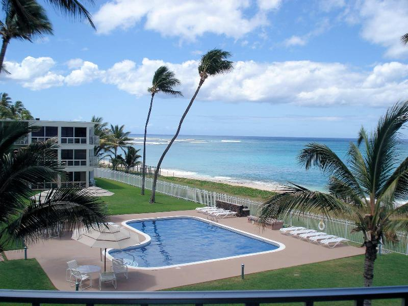 Maili 318 View from Lanai, living room and kitchen.(2) - Sandy Beach Front Oasis! 1 Bed on Ocean, Oahu, KoO - Waianae - rentals