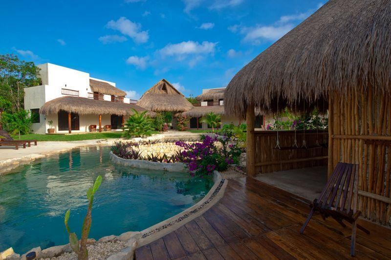 Rear View from the pool bar - Rancho Exotico luxury and private rental villas - Xpuha - rentals